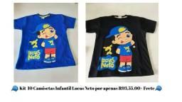 10 Camisetas Infantil Lucas Neto Atacado Cores Variadas