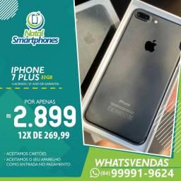 Iphone 7 PLUS ( PRETO FOSCO, 32GB ) LACRADO (01 ANO DE GARANTIA/ ANATEL )