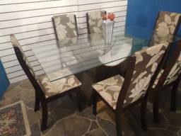 Mesa vidro 1,80x90 temperado + 6 cadeiras estofadas altas