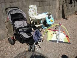 Carrinho bebe + andador + bebe conforto + cadeiras + tapete