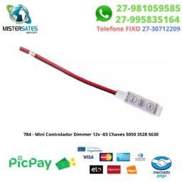 784 - Promoção - Mini Controlador Dimmer 12v -03 Chaves 5050 3528 5630<br><br>