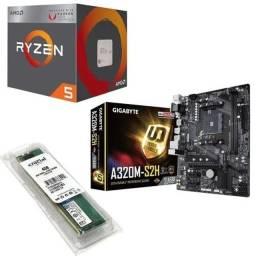 Kit gamer ryzen 5 2400g +Vega 11 integrado +  a320 + 8 GB ddr4
