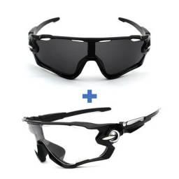 Kit Óculos de Ciclismo Espelhado + Noturno 2 Unidades