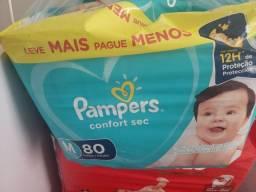 Fraldas Pampers M (80), Huggies M (80)  Babysec M (40)