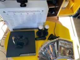 Ps3 super slim na caixa/3 controles/kinect/Fuzil/15 jogos de mídia física!