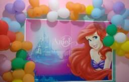 Painel de aniversário Ariel Pequena Sereia Regina Festas com brinde!!!