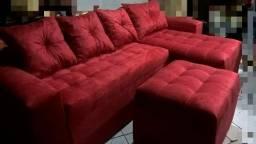 PROMOÇÃO DE MÃE DESTAK MÓVEIS sofa novo luxo chaise em suede entrega gratis