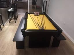 Mesa Encanto Residencial | Mesa Preta | Tecido Amarelo | Modelo: HZGK0087