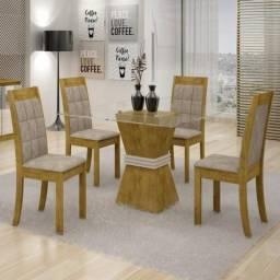 Mesa de Jantar Vitória c/ 4 Cadeiras Rubi Cel Móveis