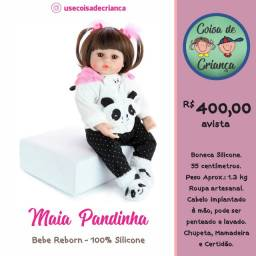 Bebê Boneca Reborn Maia Pandinha 100% silicone 55 cm NPK original