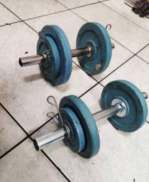 Para sua casa Kit halteres (( 22 quilos)) ferro