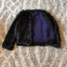 Casaco de pelinho preto