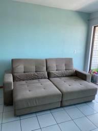 Sofá retrátil com encosto ajustável em 3 alturas para 4 pessoas