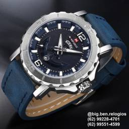 Relógio Naviforce Casual, original, importado, Pulseira de Couro Azul