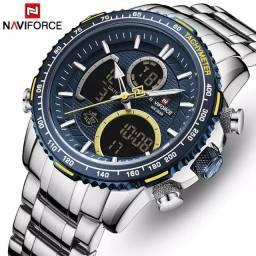 Relógio Original Naviforce Á Prova D' água Aço Inoxidável Cronômetro - Pronta Entrega
