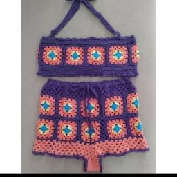 Conjunto de Crochê M (Insta: @crochetdarai): 110 reais