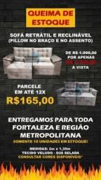 Título do anúncio: SOFÁ RETRÁTIL E RECLINÁVEL COM PILLOWTOP NO ACENTO E NOS BRAÇOS