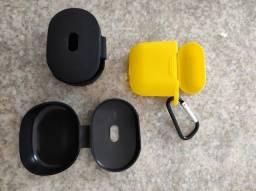 Capinha protetora de silicone para: Redmi Airdots (pretas) e iPhone Airpods (amarela)