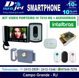 Kit Video Porteiro Iv 7010 Hs Preto + Acessórios