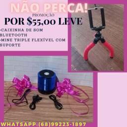 NÃO PERCA!!! Caixinha De Son Bluetooth e Mine Tripé Flexível por $55,00