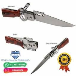 Canivete Automático Retrátil P/ Pesca E Camping C/ Lanterna Led