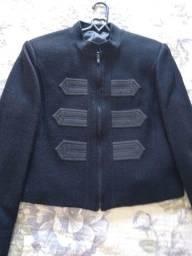 Jaqueta em pura lã preta M