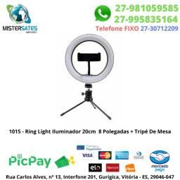 1015 - Ring Light Iluminador 20cm 8 Polegadas + Tripé De Mesa