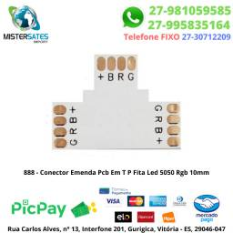 888 - Conector Emenda Pcb Em T P Fita Led 5050 Rgb 10mm