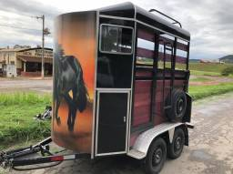 Trailer reboque carretinha 2(dois) cavalos animais