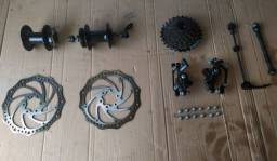 Kit freio a disco bike + Catraca Shimano (usado)