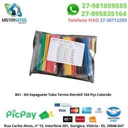 861 - Promoção - Kit Espaguete Tubo Termo Retrátil 164 Pçs Colorido<br><br>