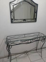 Conjunto aparador espelho e mesa de centro