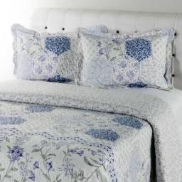 Colcha Solteiro Boutis Violeta com 1 Porta Travesseiro - Casa & Conforto