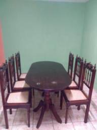 Móveis rústicos mesa 6 cadeiras palhinhas