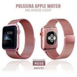 Pulseira Relógio Apple Watch Estilo Milanês 40mm Series Smartwatch
