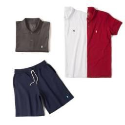 Kit Camisa Polo Basic e Bermuda de Moletom I