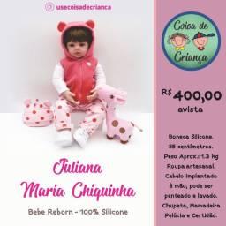 Bebê Boneca Reborn Juliana Maria Chiquinha 100% silicone 55 cm NPK original