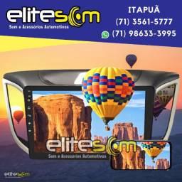 Central Multimídia Tela 10 + Moldura 2din Creta 2017 em diante instalada na Elite Som