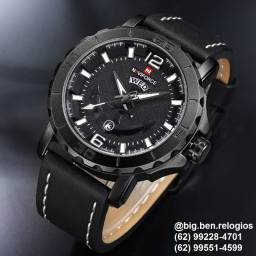 Relógio Naviforce Casual, original, importado, Pulseira de Couro Preto