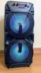 Incrível caixa de som 700W!!! Acomp. microf e mini controle