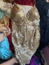 Vestido festa lantejoula dourado