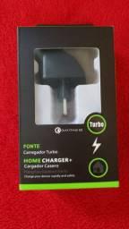 Carregador Turbo com cabo USB v8 ou Tipo C (Novo)