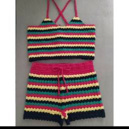 Conjunto de Crochê P (Insta: @crochetdarai) - 100 reais