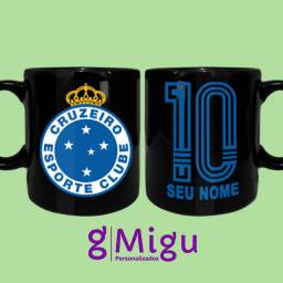 Caneca preta do Cruzeiro Caneca 100% preta do Cruzeiro personalizada / Xícara copo time