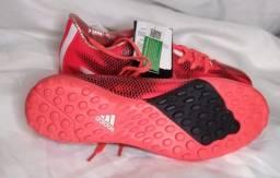 Chuteira Adidas F10 TF Society - Laranja+Preto