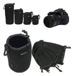 Kit de Bolsas de Proteção e Transporte p/ Lentes Fotográficas DSLR