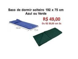 Saco de dormir - 192 x 75cm - Solteiro cores: Azul ou Verde