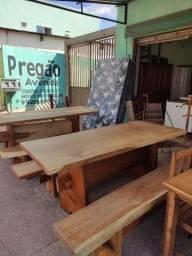 Mesas de madeira maciça com 2 banco (Novas) parcelamos em 10x sem juros no cartão