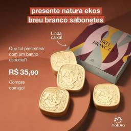 Caixa presente de sabonetes Ekos Breu Branco