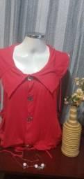 Título do anúncio: Blusa em Malha Vermelha Reluz  - Tam. M